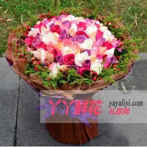 鲜花速递花店66支混色玫瑰