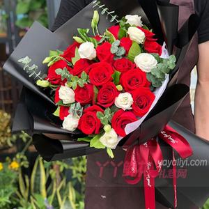 鲜花19支红玫瑰1支小熊