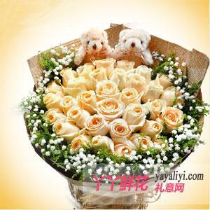 33朵香檳玫瑰加2只可愛小熊