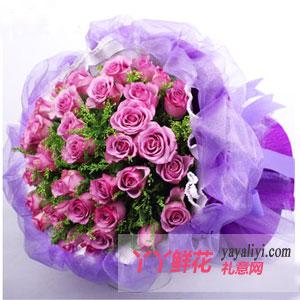 恋上开花-鲜花33枝紫色玫瑰