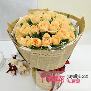 鲜花33朵香槟玫瑰两只小熊
