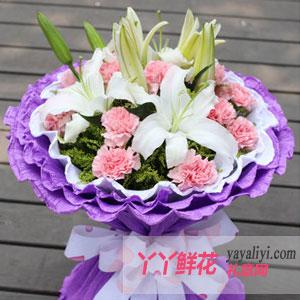 母爱之花-11朵粉色康乃馨2只百合