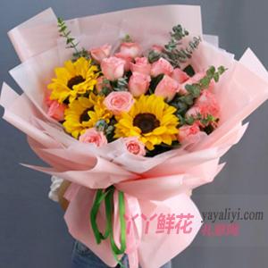 送老媽19朵粉玫瑰3朵向日葵