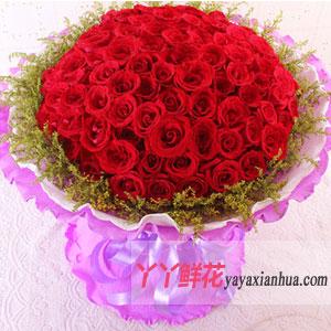 幸福的味道-99朵红玫瑰网络情人节鲜花速递