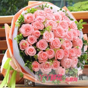鲜花速递33朵粉玫瑰