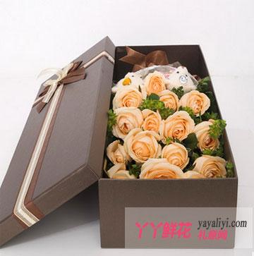 鮮花-19朵香檳玫瑰2只小熊鮮花禮盒