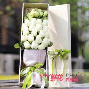永恒的爱-19朵白玫瑰桔梗礼盒