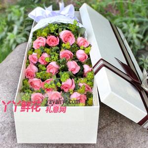 温柔 - 19朵粉玫瑰奶白色礼盒