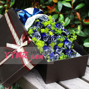 蓝色之恋-19朵蓝色妖姬深色鲜花礼盒