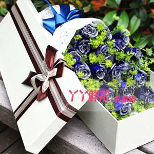 藍色之戀 - 特價19朵藍色妖姬淺色禮盒