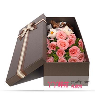 19朵戴安娜玫瑰2只小熊鲜花礼盒
