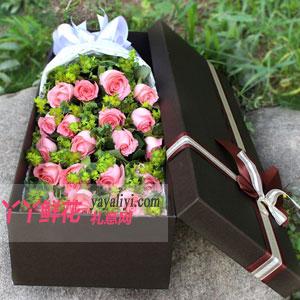 19朵粉玫瑰鲜花咖色礼盒