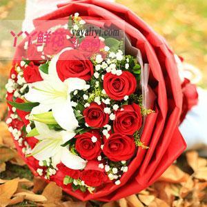 異地送花19朵玫瑰2朵百合
