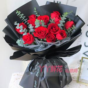 一世癡迷-鮮花速遞11朵紅玫瑰2只小熊