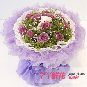 鮮花-11枝紫玫瑰1只小熊鮮花速遞