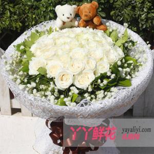 鲜花速递33朵极品白玫瑰2小熊