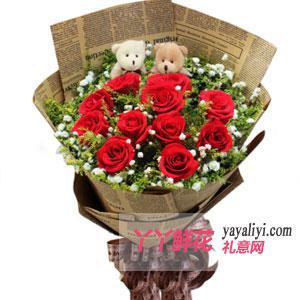 鮮花速遞11支紅玫瑰2小熊