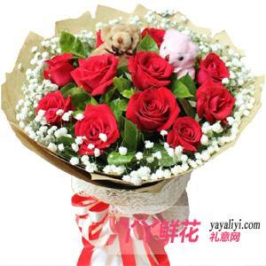 鮮花速遞11支紅玫瑰2只小熊