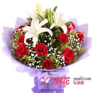 情人节送女朋友11支玫瑰2支百合生日送花