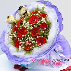 11支紅玫瑰2只小熊鮮花...