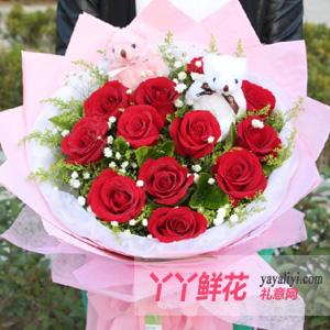 鲜花速递11朵红玫瑰2只...