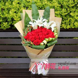 手牽手-鮮花速遞19支紅玫瑰3支百合