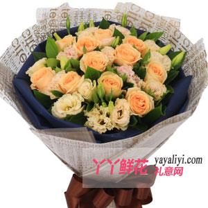 爱情故事-鲜花网站11枝香槟玫瑰