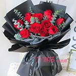 鲜花速递11朵红玫瑰2只小熊