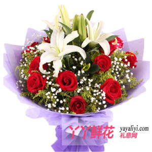 11支玫瑰2支百合生日送花