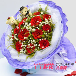 11支紅玫瑰2只小熊鮮花速遞