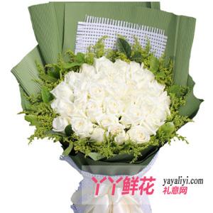 鲜花33支白玫瑰时尚花束