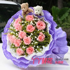 鮮花11枝粉玫瑰2只小熊