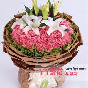 幸福安康-66朵粉康乃馨6朵百合