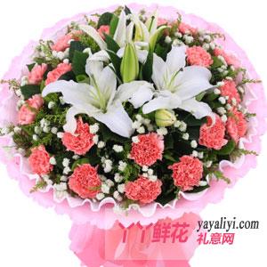 溫馨-19支粉色康乃馨2支多頭百合
