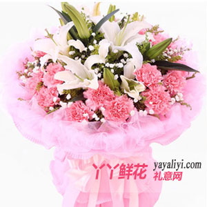 19支粉色康乃馨2枝百合
