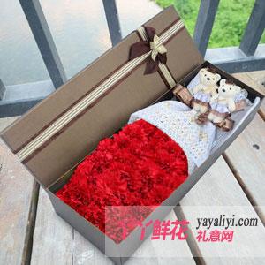 幸福温暖-21朵红色康乃馨礼盒2只小熊