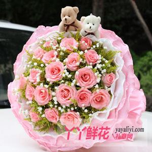 19支粉玫瑰2只小熊鲜花速递