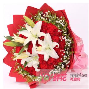 鲜花速递33朵红色康乃馨2枝白百合