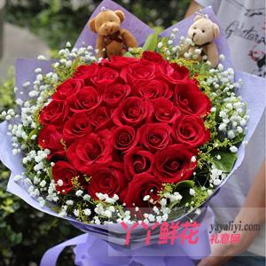 鮮花33枝紅玫瑰2只小熊預訂