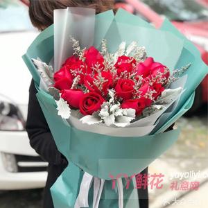 19朵紅玫瑰銀葉菊情人草