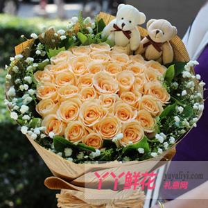 鲜花33枝香槟玫瑰2小熊预订