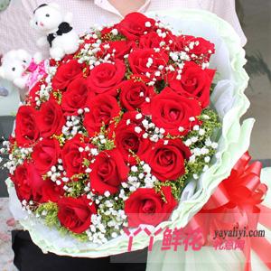鲜花19朵红玫瑰2只公仔
