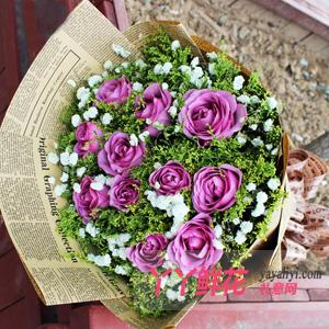鮮花11支紫玫瑰