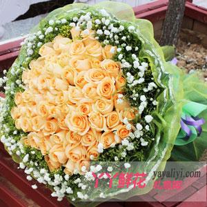 轻舞飞扬-鲜花66枝香槟玫瑰