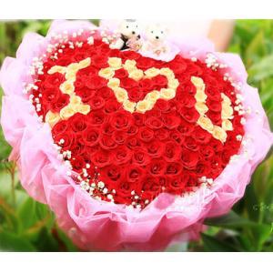 99朵混色心形紅玫瑰花