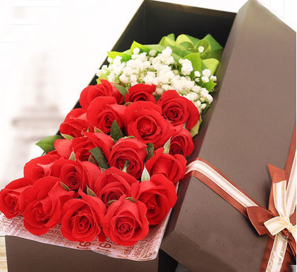 鲜花-19朵红玫瑰花鲜花礼盒