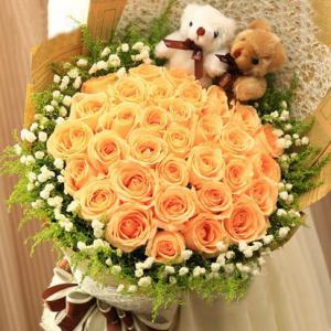 33朵香槟玫瑰2只小熊