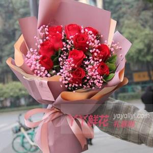 11朵红玫瑰粉色满天星搭...