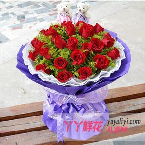 33朵紅玫瑰2只可愛小熊
