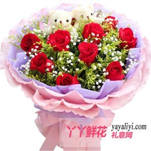 11朵红玫瑰2只小熊同城送花